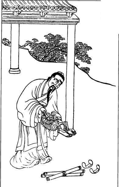中国古代人物插画-弯腰的男子和地上的卷轴矢量图图片