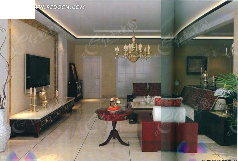 欧式简装客厅3d效果图图片
