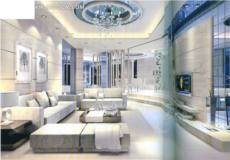 浅色豪华客厅3d效果图