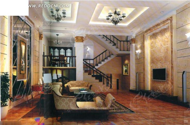 欧式别墅客厅3d效果图