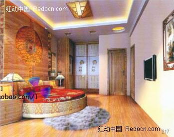 圆床圆造型背景墙卧室3d效果图图片