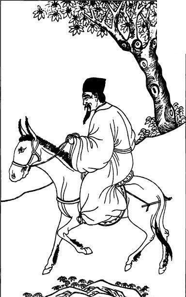 中国古代人物插画-骑马的人物和树木