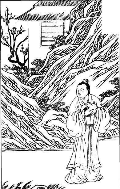 中国古代人物插画-男子和山石房屋图片