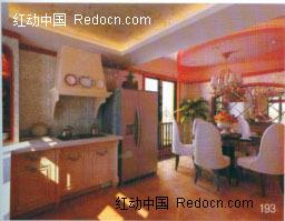 开放式厨房餐厅3D效果图图片