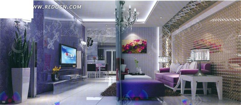紫色系客厅3d效果图_室内设计