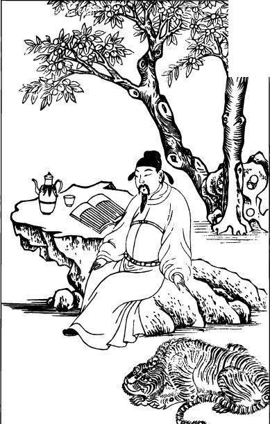 古代人物图谱-树下坐着石头上休息看书的男人图片