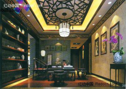 中式豪华会客室3d效果图图片