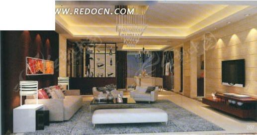 现代深咖色系客厅3d效果图