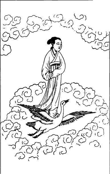 中国古代人物插画-骑着仙鹤的女子