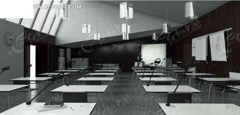 免费素材 3d素材 3d模型 室内设计 现代化教室3d效果图  请您分享图片