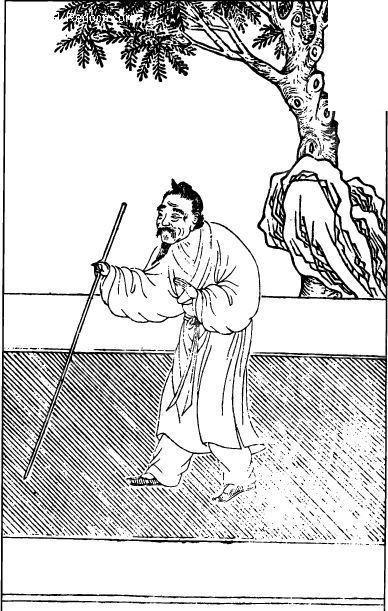 中国古代人物插画-拄着拐杖的老人和树木