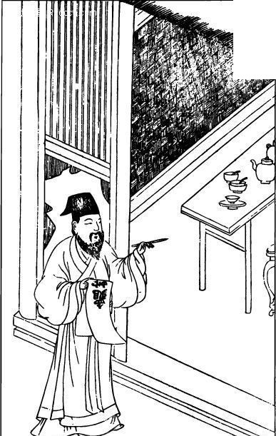 中国古代人物插画-门前拿着某物的男子