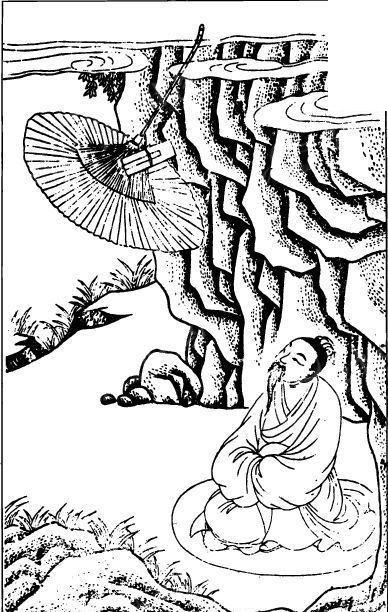中国古代人物插画-跪着的人物和伞