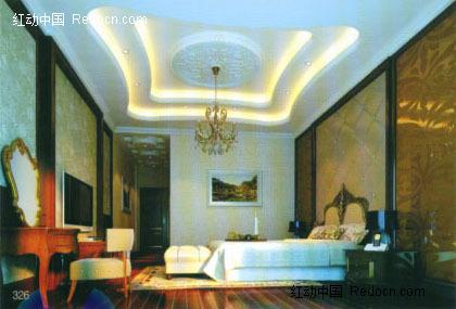 多层吊顶欧式卧室3dmax模型图片
