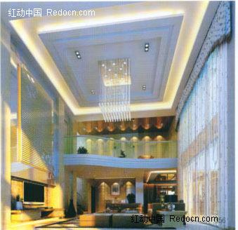 复式楼豪华高雅客厅3d效果图