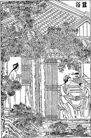 中国古代人物插画-房屋下的女子