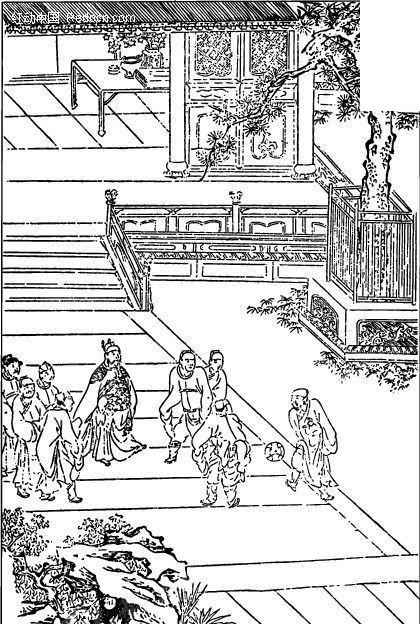 中国古代人物插画-玩乐的人物和树木房屋矢量图图片