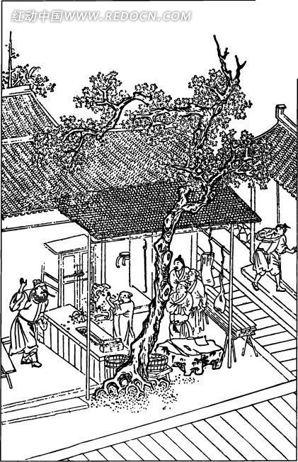 中国古代人物插画-树木和房屋下的人物