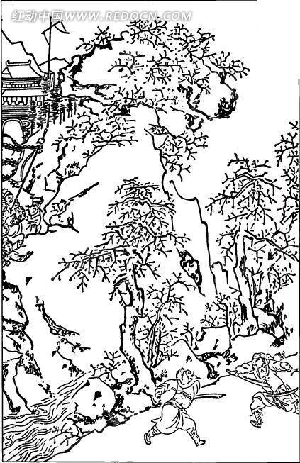 中国古代人物插画-打斗的两个男子和山石
