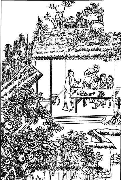 中国古代人物插画-房屋下的人物和树木矢量图_书画文字; 房子黑白