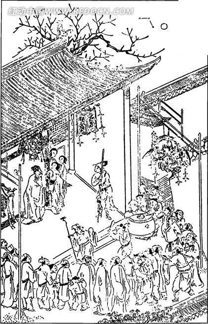 中国古代人物插画-房屋前的许多人物