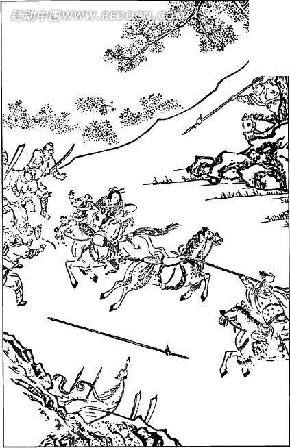 中国古代人物插画-拿着武器打斗的双方