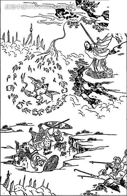中国古代人物插画-正在挥剑做法的男子和士兵