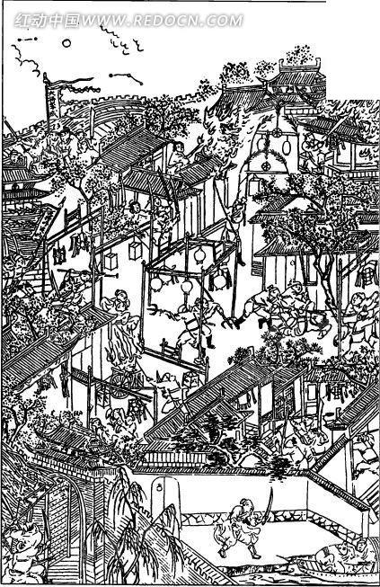 中国古代人物插画-房屋里的许多劳动的人物