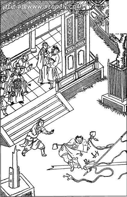 中国古代人物插画-房屋前的人物和树木