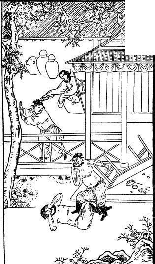 中国古代人物插画-打斗的男子和房屋