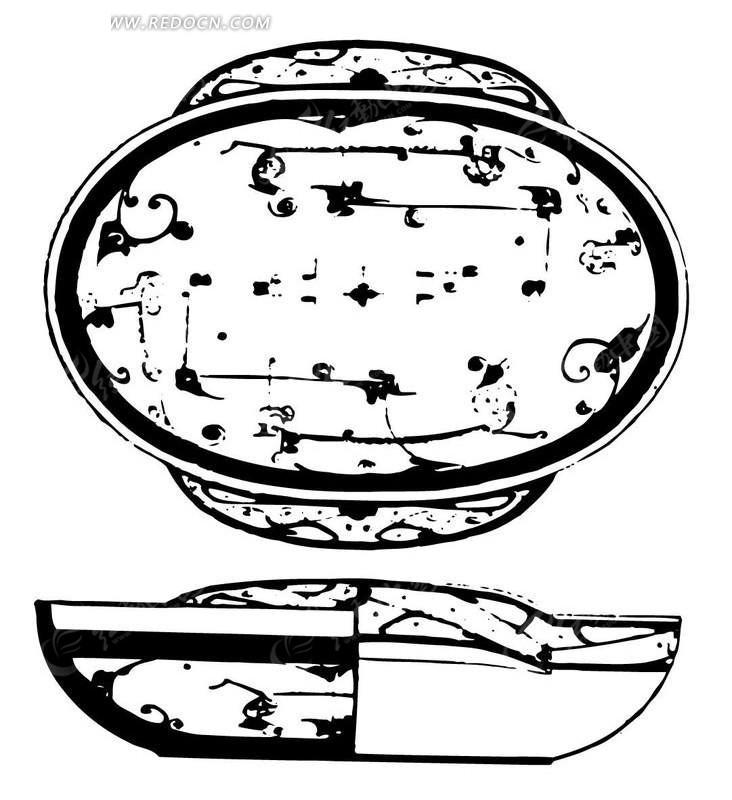 带耳朵的中国古典元素罐子图形矢量图eps免费下载