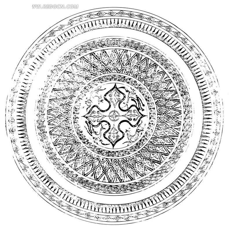 中国古典图案-圆形和圆点 麦穗圆形图案名片 蓝色圆形图案平铺背景名