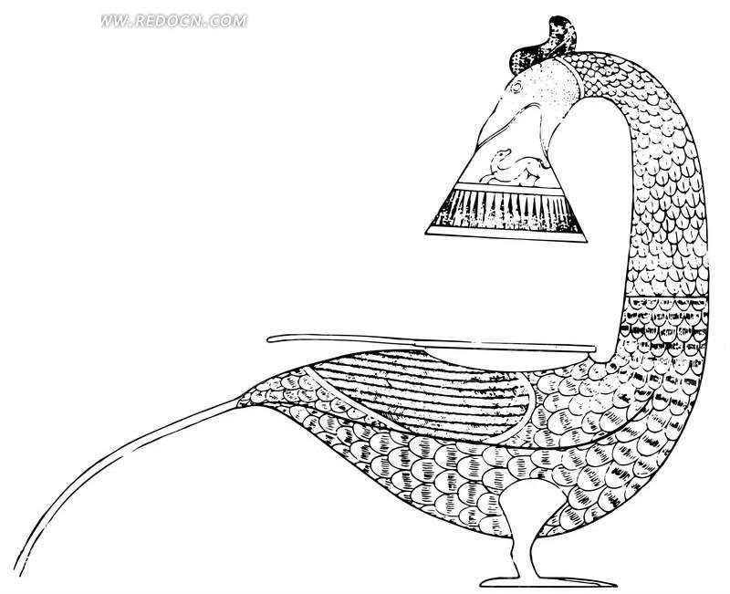 鸟状器物 斑驳 中国风 中国古典 艺术 装饰 黑白  传统图案 矢量素材