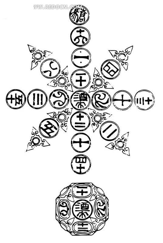 中国古典图案-文字和几何形卷曲纹构成的图案
