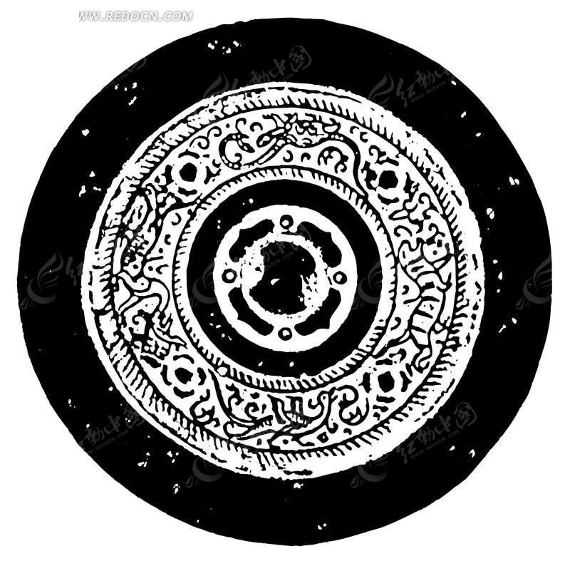 中国古典图案-神鸟和动物构成的圆形图案