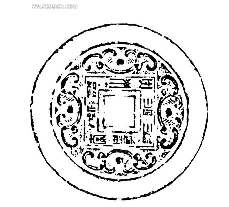 圆形卷草纹传统纹样矢量图图片