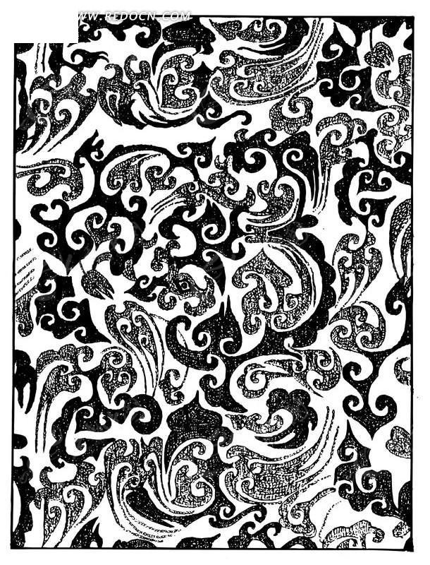 中国古典图案-几何形和卷曲纹构成的方形图案图片
