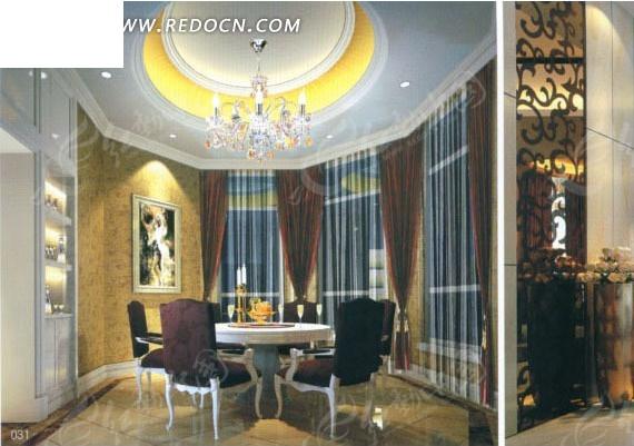 欧式豪华餐厅包间效果图3d模板素材图片