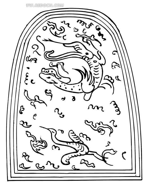 中国 龙 凤凰 云 天空 黑白 文化 传统图案 矢量素材
