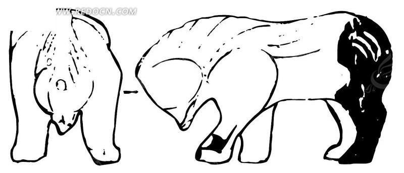 中国古典元素 动物图案 熊形图案 黑白 传统图案 矢量素材