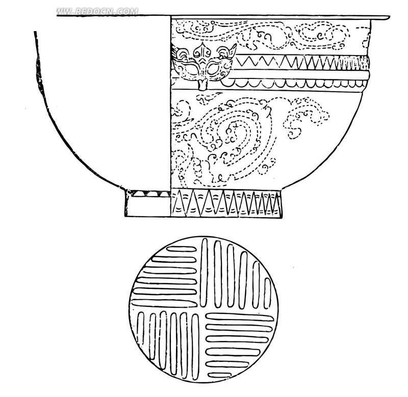 中国古典元素的大碗