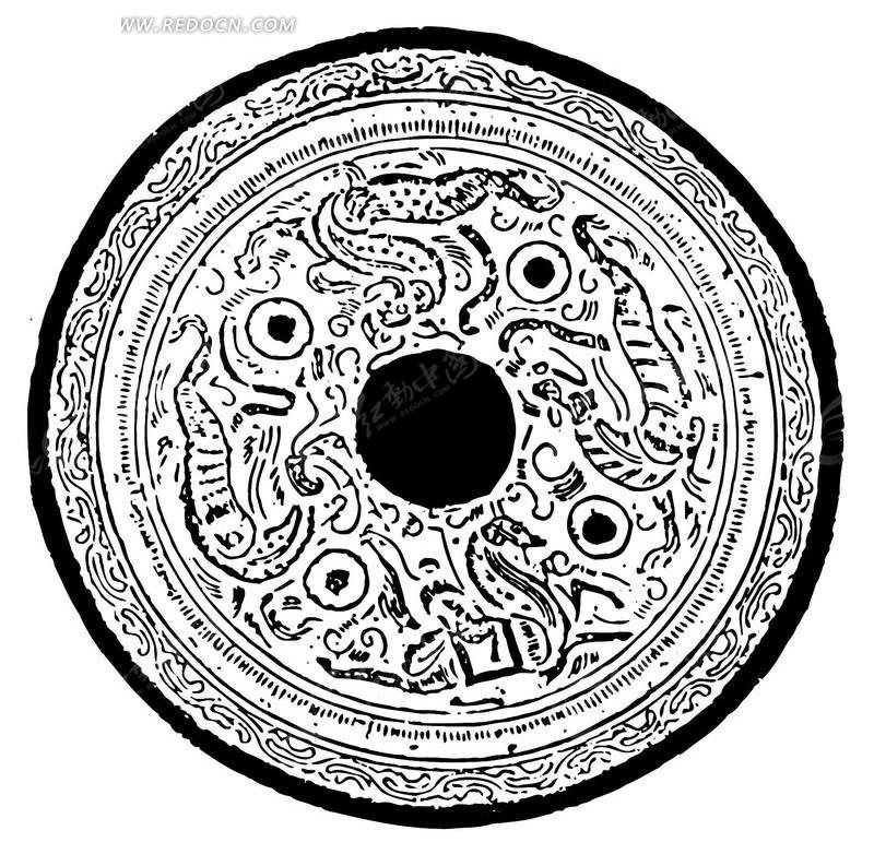 动物 斑驳 圆形图案 中国风 中国古典 艺术 装饰 黑白  传统图案 矢量