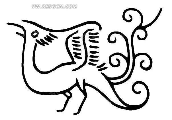 矢量古代抽象动物插画图形矢量图_传统图案