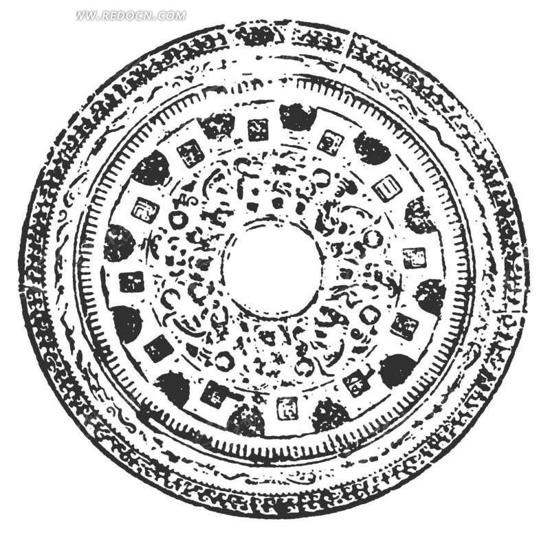 原型图案矢量图_传统图案; 环状乳神兽纹镜;; 圆形曲线组成的图案图片