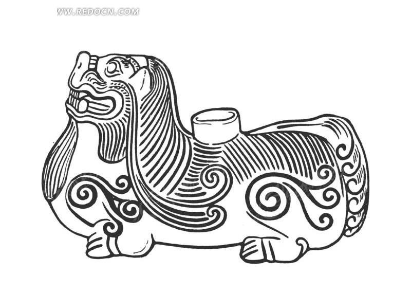 矢量素材 艺术文化 传统图案 > 中国古代器物-趴着的卷曲纹装饰的动物