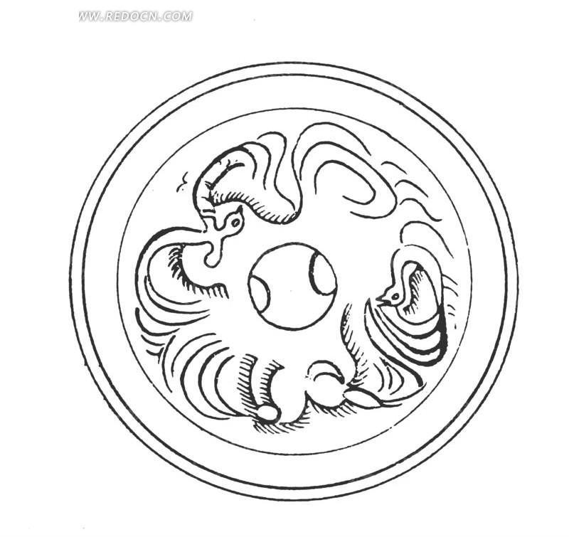 中国古典图案-曲线构成的圆形图案图片