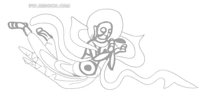 矢量手绘古代佛教人物线条