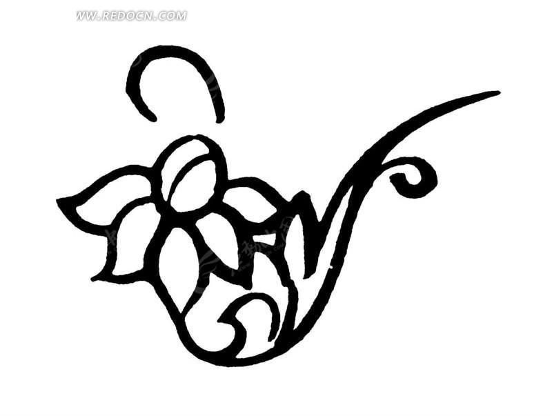 矢量手绘古代花朵花瓣线条图形