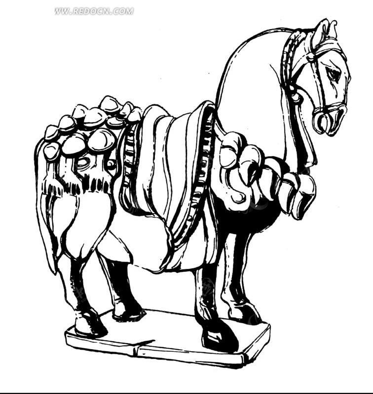 矢量古代战马插画线条