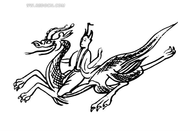 矢量骑着龙的古代人物抽象插画图形;; 手绘骑乘腾龙道士矢量图_传统